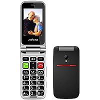 artfone CF241A Seniorenhandy ohne Vertrag   Dual SIM Handy mit Notruftaste   Rentner Handy große Tasten   2G GSM Klapphandy  Großtastenhandy mit Ladegerät und Kamera   2,4 Zoll Farbdisplay(Schwarz)