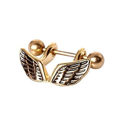 Gold überzogenes Engels-Flügel-1.2mm x 12mm Chirurgenstahl Cartilage Stulpe Ober Ear Ohrring (Opal Gold Überzogenes)