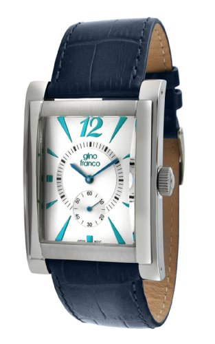 gino franco Men's 902BL Stainless Steel Case and Genuine Leather Strap Watch