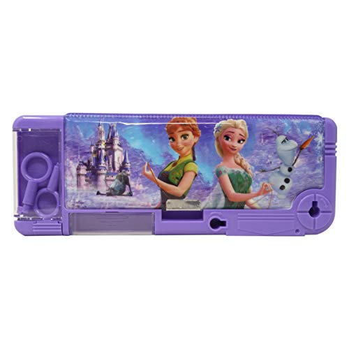 Parteet Multi Purpose Cartoon Printed Pencil Box With Key Lock For Kids(Frozen)