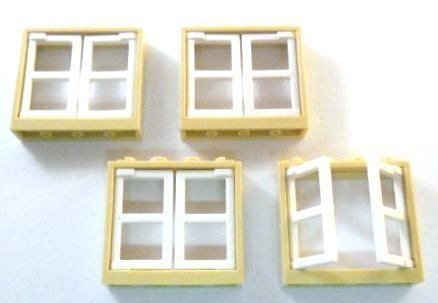 Lego Tan Windows With White Inserts (PACK OF 4)