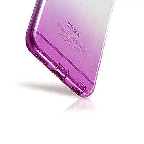 MOMDAD Coque iPhone SE Etui iPhone SE 5 5S Coque de Protection Housse Etui TPU Transparent Souple Case Cover Shock-Absorption Bumper et Anti-Scratch Effacer Gel Silicone Couvrir Coverture Shell Coquil Gradual change-purple