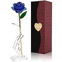 Rosa 24K chapado en oro Flor Rosa con Soporte Transparente y caja de regalo El mejor regalo para el día de San Valentín, el día de madre, aniversario o regalo de cumpleaños (Flor azul con soporte)