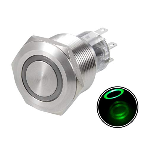ZCHXD Latching Metal Push Button Switch 22mm Mounting Dia DPDT 2NO 2NC 24V Green LED Light -