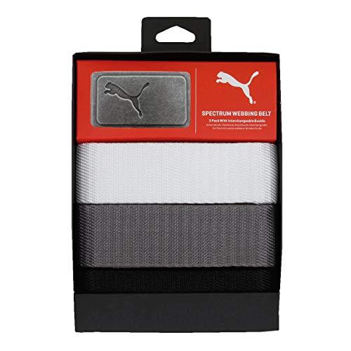 Puma Golf Herren Webgürtel 3 in 1 Pack Black-Bright White-Quarry OSFA -