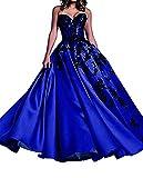 O.D.W Damen Spitzenkleid A-Linie Vintage Party Brautkleider Gotisch Mittelalterliches Hochzeitskleider(Schwarz+Koenigsblau, 54)