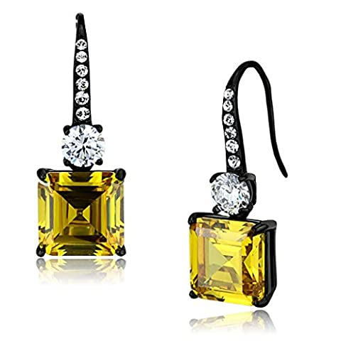 YourJewelleryBox TK2539 DANGLE DROP YELLOW TOPAZ SIMULATED DIAMOND EARRINGS BLACK STEEL PRINCESS