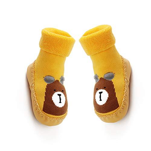 Mukluk Slipper Stiefel (lujiaoshout 12CM Baby-Anti-Rutsch-Socken Stiefel atmungsaktive Baumwolle Schuhe Cartoon Slipper Socken für Kinder, Kleinkinder, Neugeborene-Gelb)