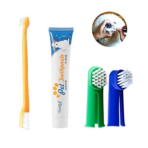 Aolvo - Kit per pulizia denti di cani e gatti, kit per l'igiene dentale degli animali domestici (include 2spazzolini da dito, 1 spazzolino da denti a doppio lato, 1 dentifricio)