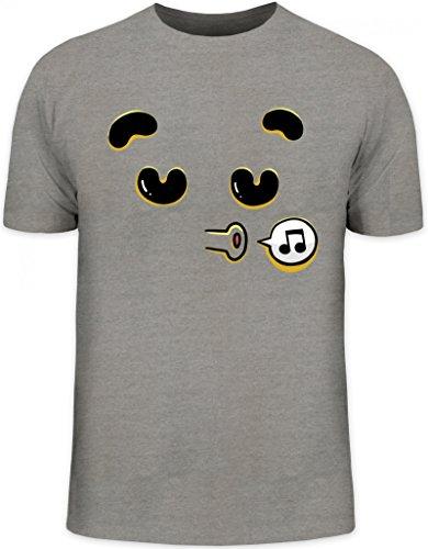 Lustiges Cartoon Emoji Herren T-Shirt mit Funny Faces - Singing Motiv Graumeliert
