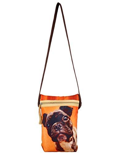 Indiano Digital Graphic Dog Face Croce Corpo Satchel Handbag - Adorabile stampa all-over - Poliestere Dupion Faux Seta - 8 x 10 x 2,5 pollici