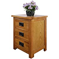 OAK Bedside Table 3 Drawers, NC Paint Cabinet, OAK MDF Board & Hardwood W:42 D:32 H:56 CM