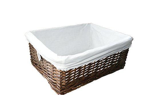 Woodluv Weidenkorb, groß, weißes Futter, Dunkelbraun Wicker Körbe Badezimmer