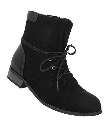 Schuhcity24 Damen Schuhe Stiefeletten Schnürstiefel   Jeansstiefel Boots   Kurzschaft Stiefel  ...