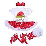 BabyPreg Neonate mio primo Natale costume della Santa del partito del vestito 4PCS (L/9-12Mesi, Cappello Corto)