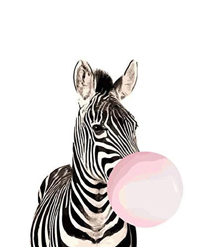 Números Pintura Al Óleo Bricolaje Kits Pintados A Mano Rosa Globo Cebra Animal De Dibujos Animados Modernos Imágenes De Arte Abstracto Para La Sala De Estar Decoración Para El Hogar 40×50 Cm Sin