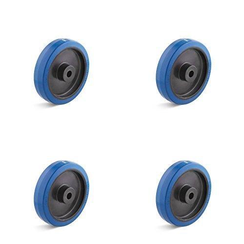 4er Set Elastik-Vollgummirad 80mm mit Kunststofffelge für Transportgeräte
