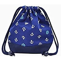 Preisvergleich für Drawstring Gokigen lunch (small size) with gusset bag cup Ocean Marine x canvas, dark blue made in Japan N3544700 (japan import)