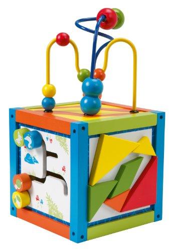 roba Spielcenter 'Aktivwürfel', Motorik Spielwürfel für Babys & Kleinkinder mit Motorikschleife & unterschiedl. pädagogischen Lernelementen, Holz Spielzeug