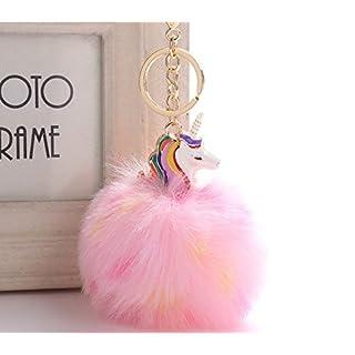 Schlüsselanhänger mit Pom-Pom für Frauen, niedliches Einhorn-Anhänger