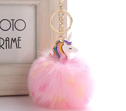 Glassgow Porte Clé/Clef Pompon Fourrure Peluche Femme Fille Licorne Kawaii Pendentif Original Poil Accessoire de Sac Voiture Cadeau Ideal