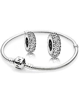 Original Pandora Geschenkset - 1 Silber Armband 590702HV und 2 Mal Silber Zwischenelement Pavé-Inspiration 791359CZ