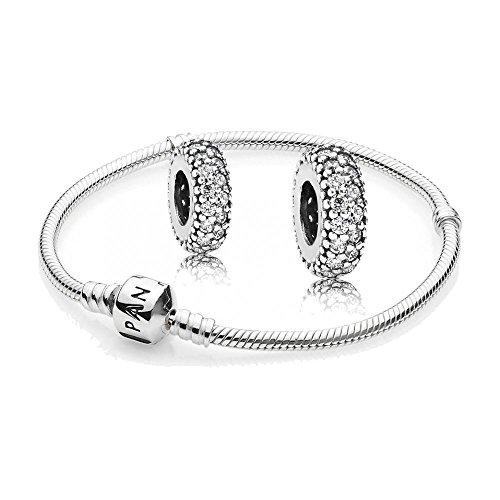 Original pandora set regalo - 1 argento braccialetto 590702hv e 2 volte argento tra element grado di-inspiration 791359cz, argento, cod. 590702hv-19 + 791359cz + 791359cz