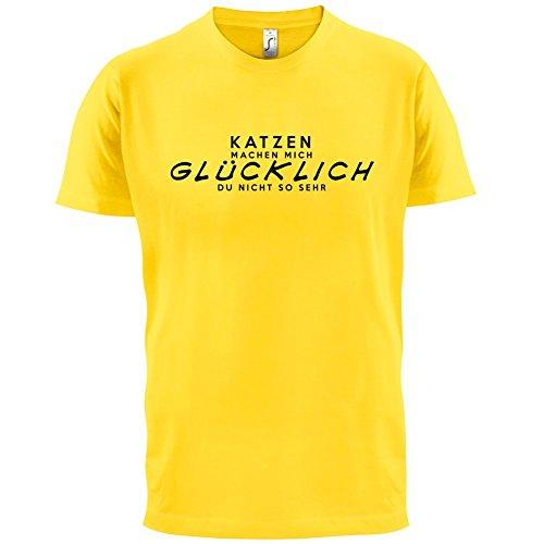 Katzen machen mich glücklich - Herren T-Shirt - 13 Farben Gelb