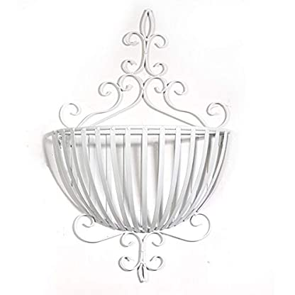MJK Estantes de plantas, dormitorio de estilo europeo, pared decorada, cesta de flores, maceta, decoración, flor, estante, maceta, estante, para uso en interiores y exteriores, jardín,Blanco