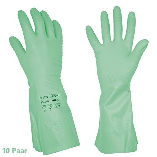 10 Nitril Chemikalen - Schutzhandschuhe, höchste Sicherheit - beste Qualität, Mehrweghandschuhe der Kat. 3, latexfrei, verschiedene Größen (Large)