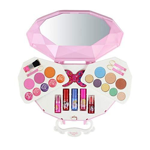 Disney 26 Stück Mädchen-Kosmetikspielset mit Spiegel | Waschbar & nicht giftig | Princess Real Makeup Kit mit Etui | Ideales Geschenk für ()