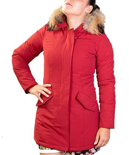 Antony morale giubbotto parka donna con pelliccia vera volpe removibile 2 colori disponibili copia wool artik parka (l 46, bordo prada)