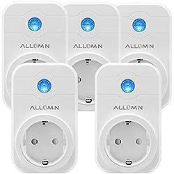 Smart Steckdose WLAN Kabellos Arbeit mit AMAZON Alexa (Echo, Echo Dot) Stimme / Fernbedienung / Timer APP Steuerung Steckdose für Android iOS Smartphone (Set von 5 Stück)