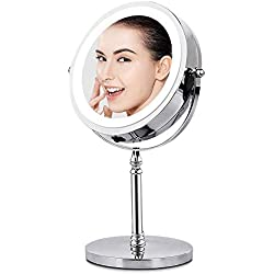 "AMZTOLIFE Lighted Makeup Mirror 10X Magnification 7"" Round Magfying Mirror with Light Cosmetic Vanity Illuminated Mirror Rotation for Cosmetic, Faical, Skin Care, Shaving and Traveling"