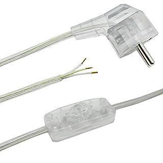 Anschlusskabel 2 m transparent für Tischleuchten oder Stehleuchten 3-adrig 250V Lampen Zuleitung Stecker + Kippschalter Anschlussleitung anschlussfertig