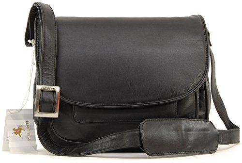 - 41zQ 2B23vmsL - Visconti Atlantic Flapover Saddle Bag / Handbag – Black – 2195