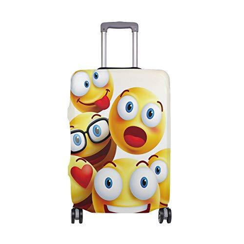 Funny Emoji Reisegepäckabdeckung, dehnbar, Polyester, passend für 45,7-50,8 cm Gepäck