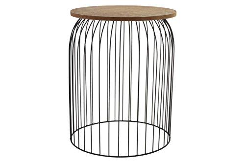 Indhouse Table d'appoint loft de style industriel pour décoration nordique en métal et bois
