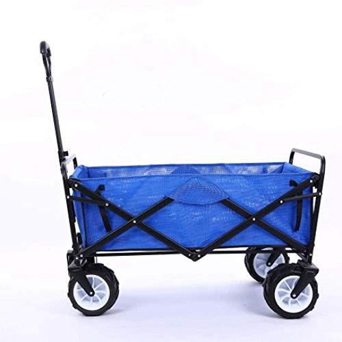 Pull Cart, Outdoor-Camping ziehen Große Rad-Hand ziehen Wagen Faltwagen tragbaren Warenkorb tragbaren Kofferraumschiff Angelausrüstung vierrädrigen Anhänger (Warenkorb Rad Großes)