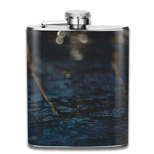 Body of Water Glare Circles Retro Portable 304 Stainless Steel Leak-Proof Alcohol Whiskey Liquor Wine 7OZ Pot Hip Flask Travel Camping Flagon for Man Woman Flask Great Little Gift