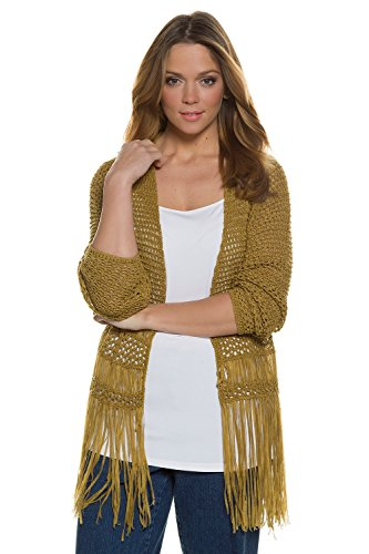 Ulla Popken Femme Grandes tailles Casual Mi-longue Manche longue Tricot Chandail Cardigans Pull Sweaters 709271 jaune kaki
