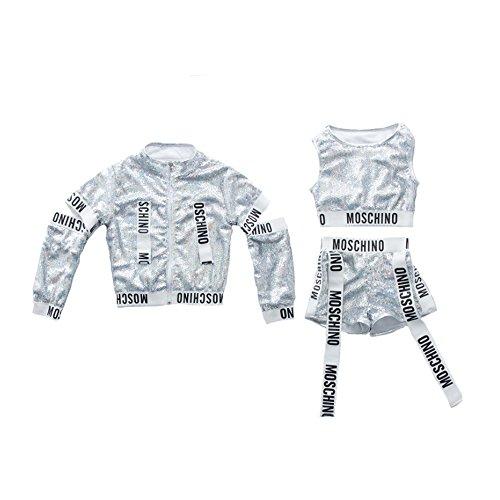Kinder modernen Jazz Hip-Hop Dancewear Kids Dance Pailletten Coat Kostüme Sets, 150 cm (Hip Hop Mädchen Kostüm)