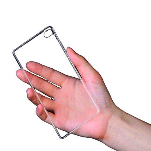 custodia per huawei Ascend p8 lite,Saingace Copertura trasparente di caso ultrasottile molle libera del gel di TPU per Huawei Ascend P8 Lite - Elegante Fascia Molle Del Silicone
