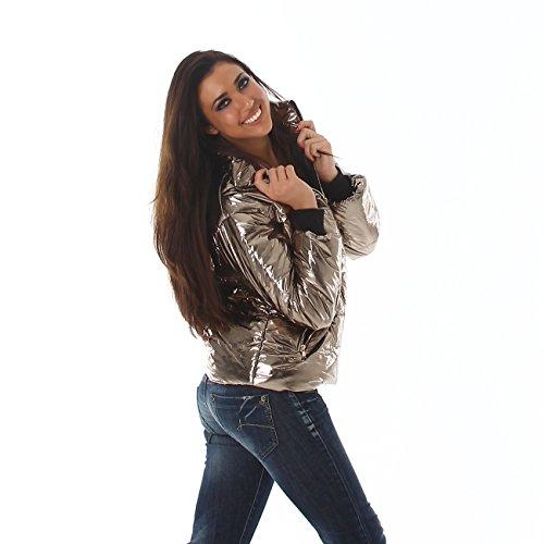 Voyelles Damen Übergangs-Jacke Steppjacke mit Stehkragen Herbst Winter S-M-L in 3 Farben Gold