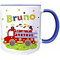 Tasse, Feuerwehr mit Namen, für Kinder, Geschenk, Becher, Kindertasse, Rosa, Blau, Grün, für Spülmaschine geeignet