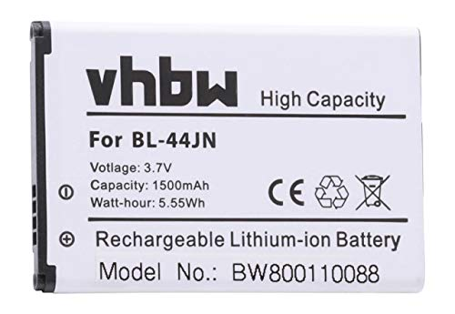 vhbw Li-Ion Akku 1500mAh (3.7V) für Handy Smartphone Telefon LG Optimus L5, Net, Pro, Q, Slider, Sol, White wie BL-44JN, 1ICP5/44/65, EAC61679601. - Slider-batterie Lg-optimus