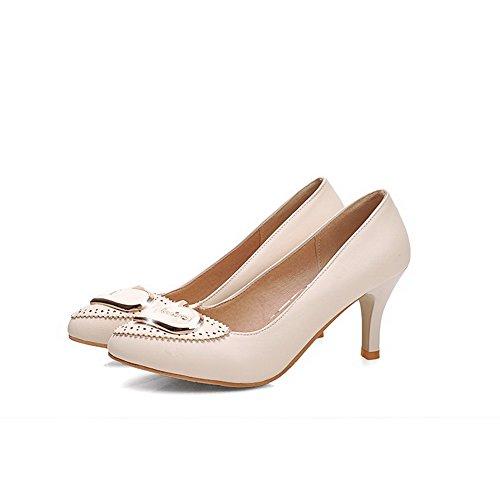 VogueZone009 Damen Eingelegt Mittler Absatz Ziehen Auf Spitz Zehe Pumps Schuhe Cremefarben
