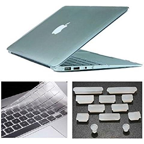 HYAIT 3in 1Ultra Sottile Cristallo Hard Case + tastiera copertura + Anti-Dust Plugs per Apple Macbook Air da 11.6A1370e A1465, colore: trasparente