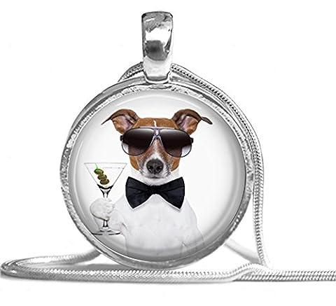 Halskette mit Schlangenkette und Glas-Cabochon Motiv: Hund als James Bond