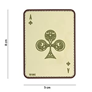 "Patch 3D PVC Carte à jouer Ace Of Clubs ""As de Trèfle"" Sable / Cosplay / Airsoft / Camouflage"